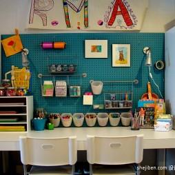 2017现代风格三居室最新宜家创意儿童房书桌摆放装修效果图片