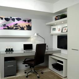 2017混搭风格经典办公书房挂画背景墙装修效果图