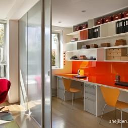 现代风格长方形双人书房推拉门装修效果图