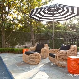 2017现代风格别墅户外休闲运动区藤椅装修效果图片