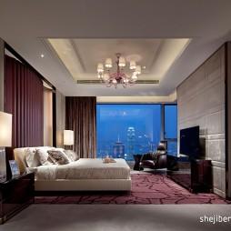 现代简约风格精装别墅主人卧室吊顶装修效果图片
