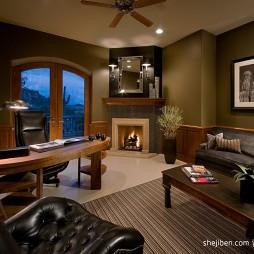 2017美式风格开放式最新客厅兼书房家具装修效果图