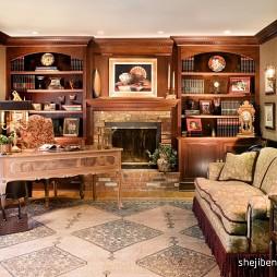 2017混搭风格经典豪华书房书柜背景墙装修效果图