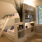 混搭风格三居室经典时尚双人儿童房窗户收纳柜双人床设计装修效果图片