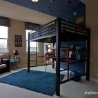 现代风格三室一厅经典宜家儿童房蓝色背景装修效果图片