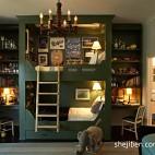 2013美式风格三室一厅经典时尚双人儿童房照片墙书柜书桌窗帘双人床设计装修图片