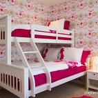 现代风格三居室时尚女孩双人儿童房壁花纹纸装修效果图片