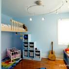 现代风格三室一厅最新时尚儿童房收纳柜书柜窗户蓝色墙面收纳柜装修设计大全
