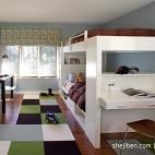 混搭风格别墅经典时尚双人儿童房蓝色墙面双层床设计装修效果图片