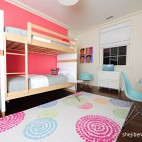 混搭风格三室一厅最新宜家双人儿童房上下铺设计装修效果图片