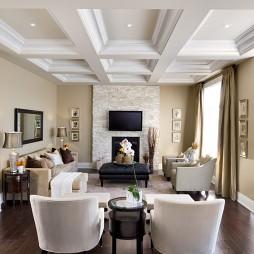 复式楼客厅石膏线吊顶装修效果图