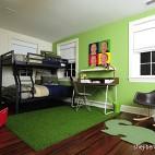 现代风格三居室专业宜家双人儿童房绿色墙面书桌窗户双层床设计装修效果图片