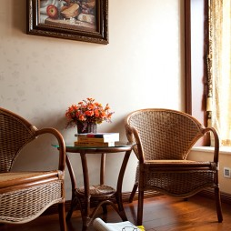 美式休闲区藤椅装修效果图