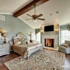 美式风格别墅时尚主人房卧室壁炉墙装修效果图片
