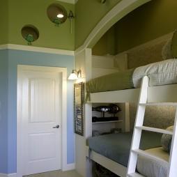 2017混搭风格三居室最新经典双人儿童房双人床设计装修效果图片
