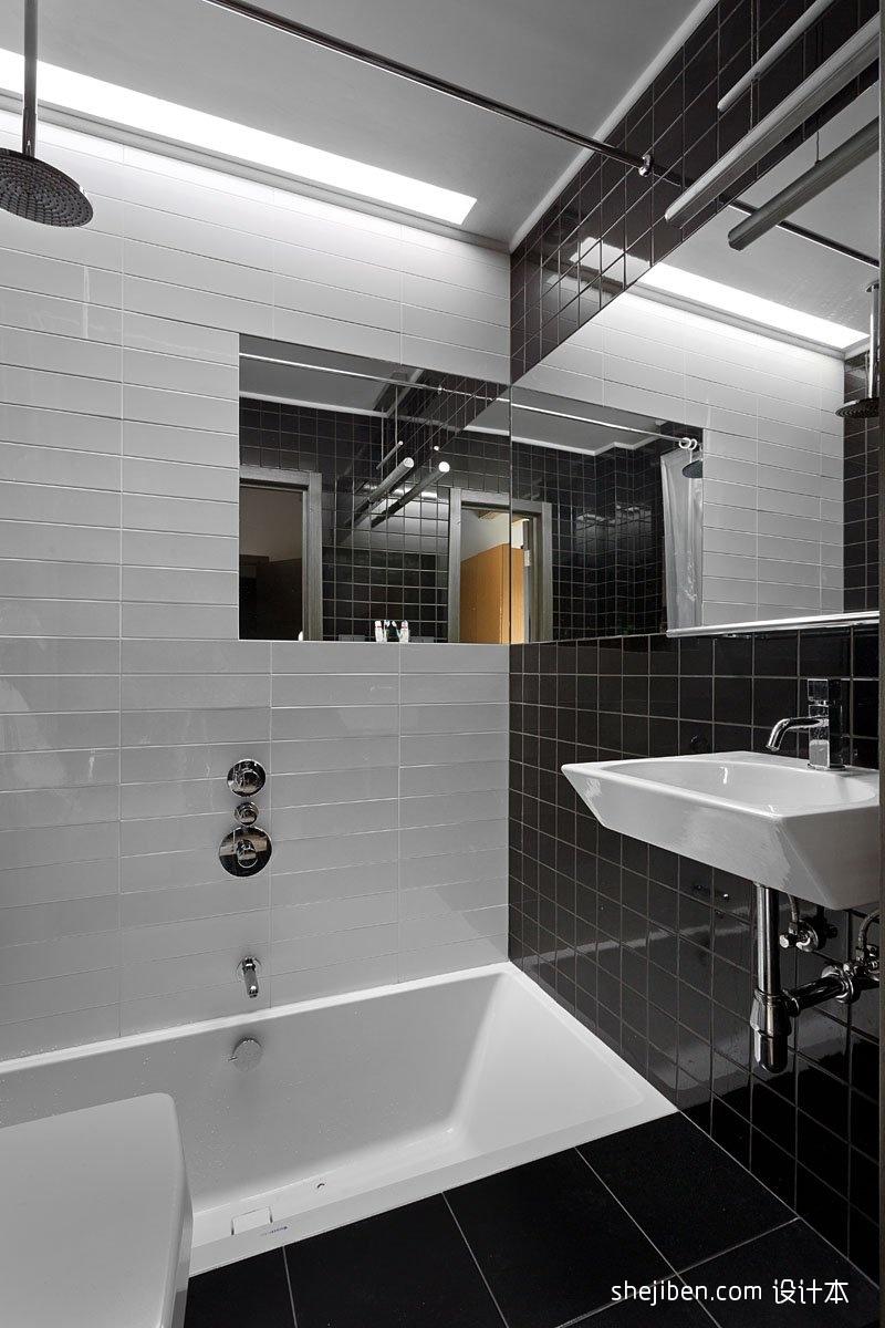 混搭风格时尚别墅主卫生间黑白瓷砖墙面装修效果图片 设计本装修效果图