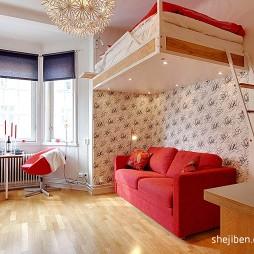 21平米小户型装修设计现代卧室客厅一体化装修效果图