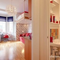 21平米小户型装修设计现代客厅洗手台隔断装修效果图