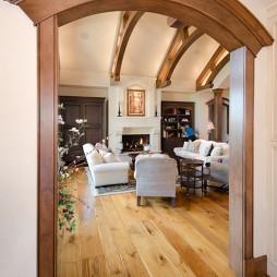 稳重豪华两层别墅美式客厅垭口装修效果图