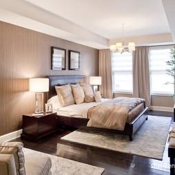 现代风格别墅时尚80后女性卧室床头背景墙窗户窗帘装修效果图片