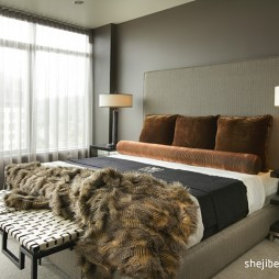现代风格时尚卧室白色窗帘装修效果图片