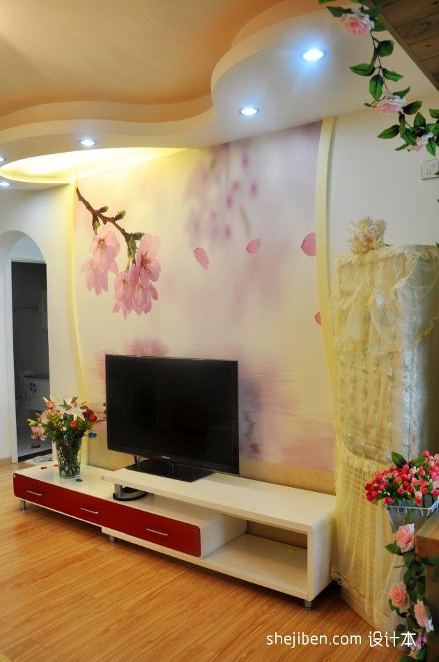 卧室手绘效果图_家装手绘电视墙图片 – 设计本装修效果图