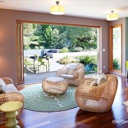 2017现代风格别墅室内休闲区藤制桌椅装修效果图