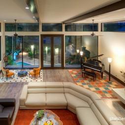 别墅室内高客厅拼花地板砖设计装修效果图