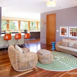 2017现代风格别墅室内休闲区藤制桌椅装修效果图片