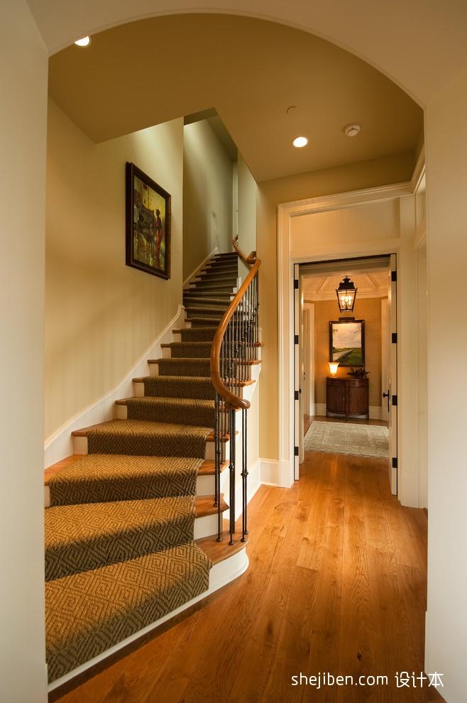 热门资讯_豪宅里的别样温馨美式楼梯地毯装修效果图 – 设计本装修效果图