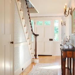 2017美式风格别墅室内高档木质楼梯护栏装修效果图