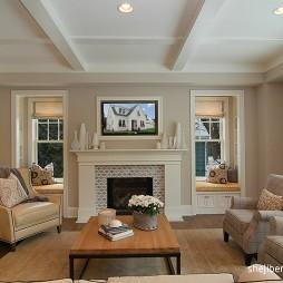 经典美式别墅客厅壁炉效果图