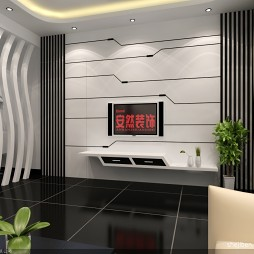 现代简约立体电视墙效果图图片