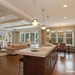 经典美式别墅开放式厨房装修效果图欣赏
