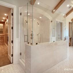 欧式风格别墅干湿分离主卫生间淋浴房装修效果图片
