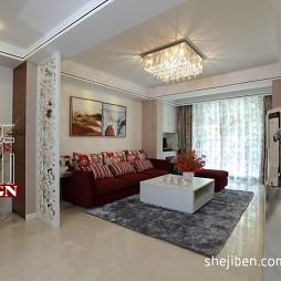 家装二居室有梁客厅不吊顶走廊镂空设计