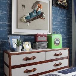 美式风格样板间创意儿童房收纳柜装修效果图片