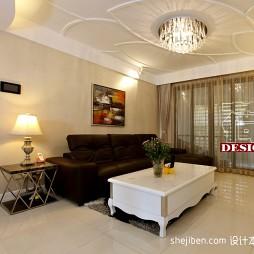 复式简约客厅石膏线条天花及灯饰家具布置设计