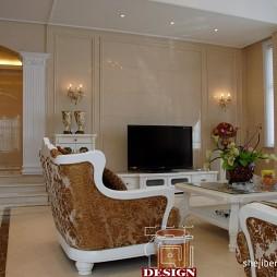 简约欧式风格跃层客厅线条电视背景墙效果图