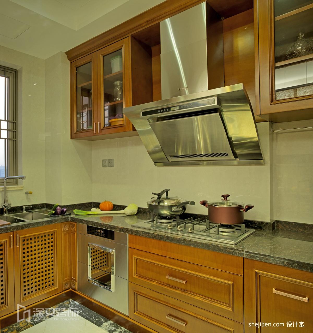 欧式厨房地砖效果图_家庭棕黄色橱柜厨房地砖装修效果图 – 设计本装修效果图