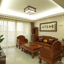四居室红木中式客厅石膏板吊顶效果图