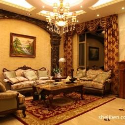 纯欧式别墅客厅天花吊顶棚设计图