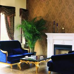 新古典客厅沙发壁炉装修效果图
