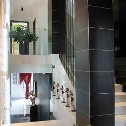 2017现代风格别墅室内大理石楼梯板装修效果图
