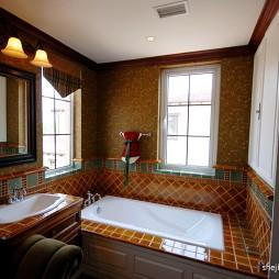 美式风格复式创意主卫生间棕色瓷砖装修效果图欣赏