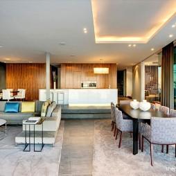 现代风格别墅错层客厅半吊顶连餐厅设计图