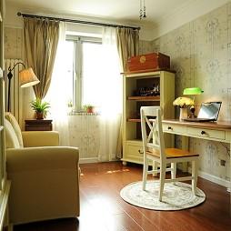 地中海风格两室一厅宜家书房书架窗帘装修效果图