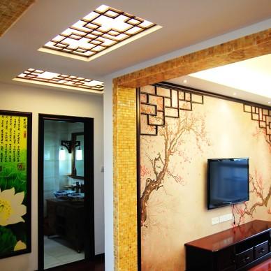 中式风格客厅电视墙效果图片