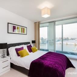 现代风格四室一厅白色次卧室装饰画带阳台移门装修效果图