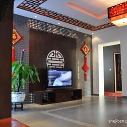 中式风格 客厅电视墙装修效果图片